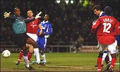 26 February 2002 Tomas Radzinski heads home as the Blues defeat Crewe in the FA Cup Fifth Round