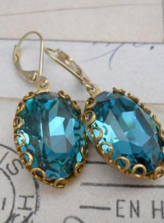 Hollywood Glam - Indicolite Jewel Earrings,  Jewelry, earrings jewels swarovski crystal gold