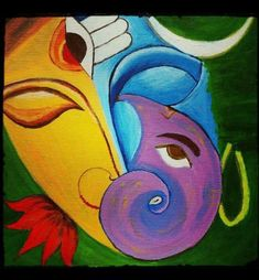 Ideas painting abstract diy design for 2019 Lord Ganesha Paintings, Lord Shiva Painting, Ganesha Art, Krishna Painting, Ganesha Rangoli, Ganesha Drawing, Krishna Art, Madhubani Art, Madhubani Painting
