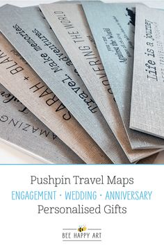 We offer a selection of pushpin maps printed on your choice of cotton, grey linen or natural linen fabric. Personalise with your own title, optional key at the bottom and choice of 20 font combinations. We also include 100 mixed colour map pins and your choice of black or white frame! Visit our shop to view the full collection.... #beehappyart #cottonanniversarygift #linenanniversarygift #weddinggift #engagementgift #pushpinmap #travelmap #travelgift #anniversarygiftideas 12 Year Anniversary Gifts, Cotton Anniversary Gifts, Map Pins, Cotton Gifts, Font Combinations, Happy Art, Bee Happy, Travel Maps, Travel Gifts