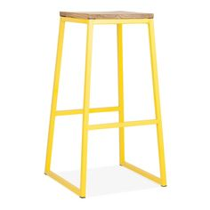 Meet the Consec bar stool in yellow metal. It has clean lines, a functional foot rest and is available in a range of colours. Modern Stools, Modern Bar, High Bar Table, Bar Tables, Stools For Kitchen Island, Kitchen Chairs, Restaurant Seating, Restaurant Bar, Metal Stool