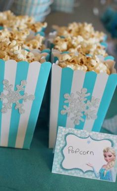 Anna Elsa and Olaf Frozen Birthday Party Popcorn!   See more party planning ideas at CatchMyParty.com!