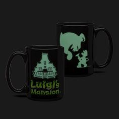 Featuring the totally-not-spooky-or-anything silhouette of the house you just unexpectedly won and the Luigi's Mansion logo, it holds up to 16 ounces of whatever you like to sip when you take a break after clearing out all the ghosts on a floor. Cute Coffee Mugs, Coffee Cups, Luigi's Mansion, Super Mario Art, Used Video Games, Afraid Of The Dark, Geek Gifts, Macabre