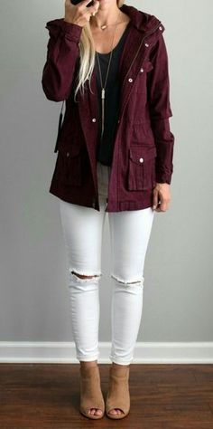 #fall #outfits women's maroon button-up bomber jacket, black scoop-neck T-shirt, distressed white fitted denim jeans, and pair of brown peep-toe suede ankle boots outfit