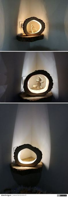 Maintenant que les cadeaux sont donnés, on peut les publier  Lampe LEd Creusée dans un rondin de Frêne, avec silhouette personnalisée ou pas    Apres un perçage au centre du rondin, un peu d'huile de coude pour creuser au ciseaux à bois en suivant les nervures  Rainurage à la défonceuse sous table pour la mise en place du bandeau de LED, ponçage et polissage de la paraffine alimentaire    Et Voilà un cadeau original pour mes belles-sœurs !  #lairdubois #decoration #cadeau #lampe Lampe Led, Scroll Saw, Recycled Wood, Cool Artwork, Wood Crafts, Creations, Woodworking, Bandeau, Place