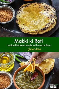 Gluten-free flatbread made with maize flour. Makki ki Roti is a staple in North India during winters and often enjoyed with sarson ka saag (greens). Japanese Street Food, Thai Street Food, Indian Street Food, Gf Recipes, Gluten Free Recipes, Bread Recipes, Vegetarian Recipes, Baking Recipes, Indian Dishes