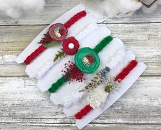 Christmas tiebacks5 Tieback headbands setPhotography