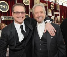 Pin for Later: The Year's Best Award Show Snaps  Matt Damon and Michael Douglas got excited about their Behind the Candelabra nomination before the SAG Awards.
