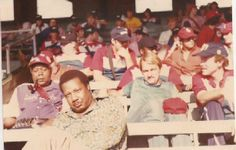 Vendors waiting to vend, sit in the outfield at old Comiskey Park circa 1975  See Marc Perper's comments below re: whose who here