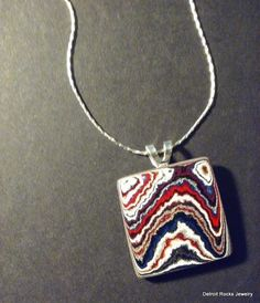 Detroit Fordite Agate Necklace Pendant by DetroitRocksJewelry on Etsy