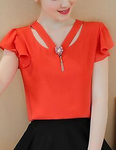 Women's Casual/Daily Simple Spring Fall Blouse,Solid V Neck Short Sleeve Polyester Sheer
