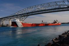 Great Lakes freighter beneath Blue Water Bridge, Port Huron, MI
