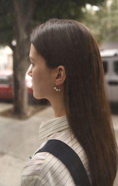 Anaïse | Saskia Diez 3 Pearls Hoops
