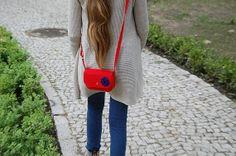 little red purse felt bag crosboddy bag shoulder bag by EtoiColors, $17.00