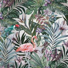 Tropical wallpaper JUNGLE Green Collection By Adriani e Rossi edizioni Tropical Furniture, Tropical Home Decor, Tropical Interior, Tropical Houses, Wallpaper Toilet, Bathroom Wallpaper, Tropical Wallpaper, Wallpaper Jungle, Plant Wallpaper