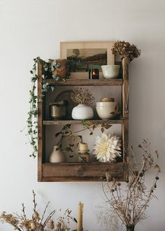 An Autumn Shelf. Our rustic handmade pallet shelf with a gathering of seasonal inspiration from this perfect time of year, fading treasures from nature, a few selected pieces and the gentle warming glow of a candle to lift the mood. Decoration Bedroom, Decor Room, Interior Decorating, Interior Design, Interior Ideas, Pallet Shelves, Diy Décoration, Aesthetic Room Decor, Furniture For Small Spaces