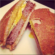 Dukan burger!   Substitute: Oat bran gallette for the bun.  Use: Lean ground turkey & egg