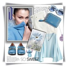 """""""Sky blue and white"""" by maytal-gazit ❤ liked on Polyvore featuring Pinko, J.Crew, Gucci and Chicwish"""
