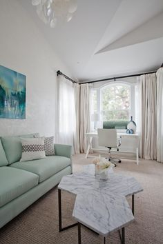 Mint sofa in a contemporary living room
