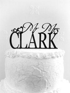 Mr and Mrs Clark Wedding Cake Topper от CakeTopperDesign на Etsy