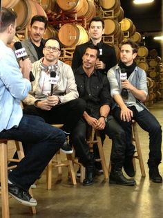 New Kids on the Block being interviewed in the Sutter Home Barrel Room.