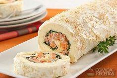 Receita de Rocambole de salsicha e cream cheese em receitas de salgados, veja essa e outras receitas aqui!