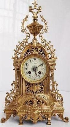 Antique C French Vincenti Solid Pierced Bronze Gothic 8 Day Bell Mantel Clock Mantel Clocks, Old Clocks, Antique Clocks, Vintage Clocks, Wall Clock Brands, Wall Clock Online, Luis Xvi, Classic Clocks, Unusual Clocks