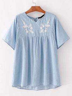 Shop Embroidery High Low Denim Top online. SheIn offers Embroidery High Low Denim Top & more to fit your fashionable needs.