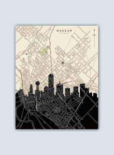 Dallas Skyline, Dallas Art Print, Dallas Decor, Dallas Poster, Dallas Texas, Personalized Skyline Print, Dallas Wall Art, Dallas Map by GeographicArt on Etsy