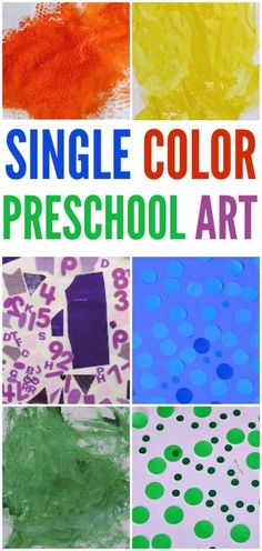 Single color art explorations are great for preschool artists. Art Activities For Toddlers, Preschool Arts And Crafts, Preschool Colors, Easel Activities, Color Activities, Preschool Activities, Creative Activities, Kids Crafts, Color Collage