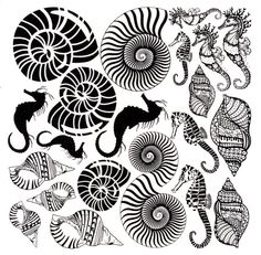 Shells and Sea Horses Black Enamel by KirstensKreationz on Etsy
