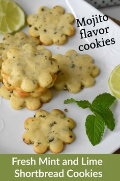 Fresh Mint and Lime Shortbread Cookies - Zesty South Indian Kitchen Cookie Desserts, Cookie Recipes, Banana Roll, Shortbread Cookies, Bar Cookies, Mint Simple Syrup, Fresh Mint Leaves, Indian Kitchen, Food Gifts