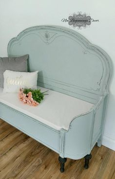 SOLD EXAMPLE Annie Sloan Chalk Painted Entryway Bench custom made from antique headboard and curved footboard bedroom furniture - Bed Headboard - Ideas of Bed Headboard - SOLD EXAMPLE Annie Sloan Chalk Painted Entryway Bench custom Painted Bedroom Furniture, Repurposed Furniture, Rustic Furniture, Cool Furniture, Living Room Furniture, Furniture Stores, Modern Furniture, Painted Headboard, Luxury Furniture