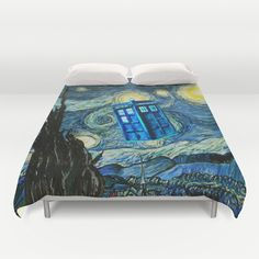 Flying Tardis doctor who starry night oil painting Duvet Cover #tardis #doctorwho #starrynight #vangogh #screamingman #flying #phonebooth