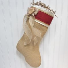 Burlap Christmas Stocking. $30.00, via Etsy. This is so me. Love it.