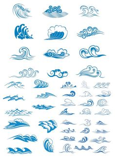 vector | Sea waves symbols vector | Vector Graphics Blog...