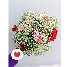 ; Baby's breath with pink and red carnation for natasya's solemnization