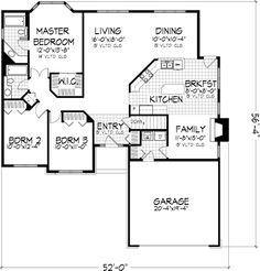 ranch style house plans - 1437 square foot home , 1 story, 3