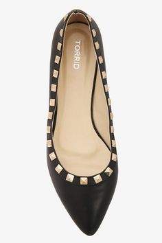 Black & Gold Pyramid Studded Flats (Wide Width) | Shop All Shoes