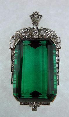 Art Deco Chrome Green Tourmaline Pendant with Diamonds,  Circa 1935