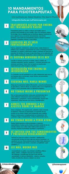 Esta vez quería hacer una infografía ligeramente diferente con información del blog de Adam Meakins, hablando sobre los mandamientos de los fisioterapeutas.