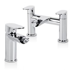 A very unique waterfall basin mixer and bath filler set which incorporates intricate design and a stunning finish. Made from solid brass with ceramic disc technology.
