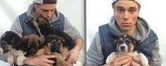 US Skier Gus Kenworthy looking after Sochi stray puppies