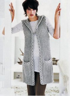 вязаные жилеты спицами со схемами для женщин 2015: 21 тыс изображений найдено в Яндекс.Картинках What To Wear Today, How To Wear, Crochet Coat, Vest Pattern, Winter Sweaters, Crochet Designs, Summer Wear, Cardigans For Women, Knit Cardigan
