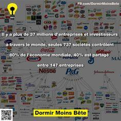 Il y a plus de 37 millions d'entreprises et investisseurs à travers le monde, seules 737 sociétés contrôlent 805 de l'économie mondiale, 40% est partage entre 147 entreprises.