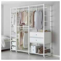 IKEA ELVARLI 3 sections White 205 x 55 x 216 cm You can always adapt or complete this open storage solution as needed. Maybe the combination we've suggested is perfect for you, or you can easily create your own. Open Wardrobe, Wardrobe Storage, Bedroom Storage, Elvarli Ikea, Ikea Algot, Ikea Pax, Storage Drawers, Storage Shelves, Ikea Ivar Regal