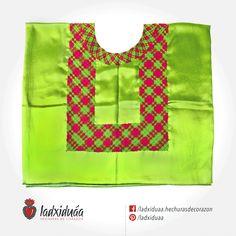 Huipil de Golpe verde limón, con tejido de cadenilla en hilos verde y rosa.