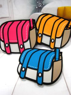 "1) A bag that looks like it was peeled out of the pages of a comic book 2) JumpFromPaper whimsical bags, with their eye-fooling primary color blocks and heavy outlines, jumped up the ranks of trending topics on Twitter in Japan last week under the keyword ""2-D bag."" 3) JumpFomPaper makes 3-D ba..."