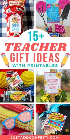 Looking for some easy and fun teacher gift ideas for teacher appreciation week and the end of the year? I've got you covered with over 15+ simple and adorable teacher gifts. Each idea has a printable card or gift tag to make assembly a breeze. All of the printables are available in my Just Add Confetti Etsy shop. Also, be sure to check out justaddconfetti.com to see a bunch of other creative ideas and teacher gifts!