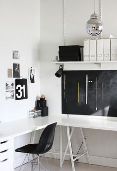minimal black and white desk corner | by AMM blog, via Flickr